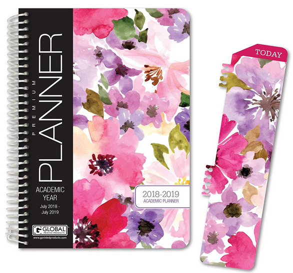 HARDCOVER Academic Year Planner 2018-2019 - 5.5x8 Daily Planner -Weekly Planner -Monthly Planner -Yearly Agenda. Bonus BOOKMARK-Spring Floral